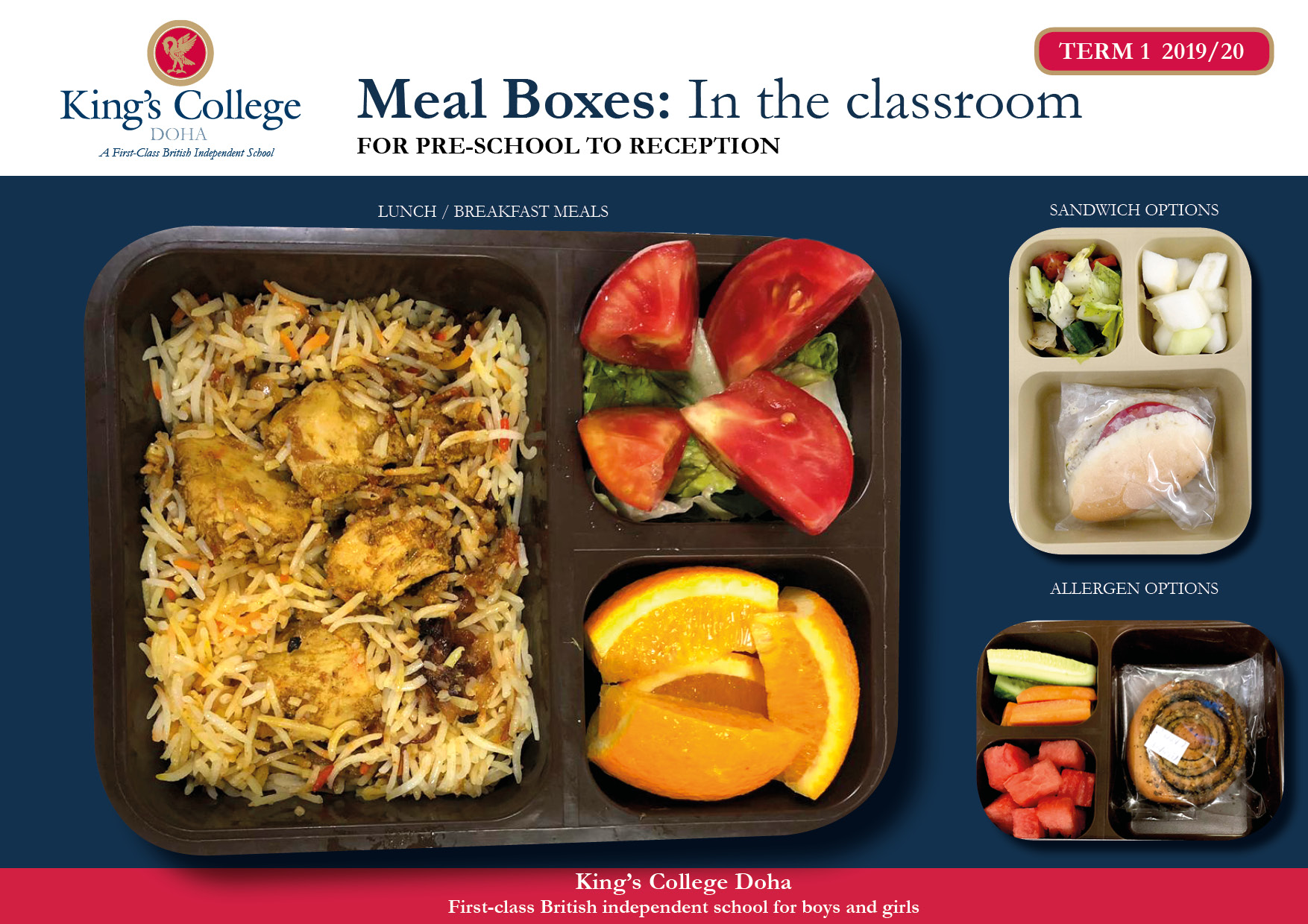 Kings College Food menu - Catering